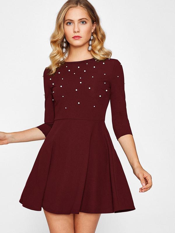 Fit & Flare Kleid mit Perlen - German SheIn(Sheinside)
