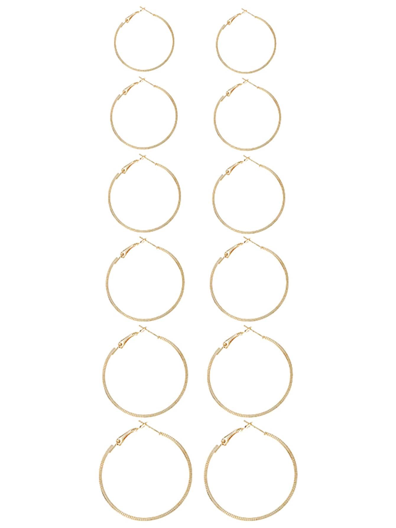 ebb66ed962 Gold Plated Mixed Sized Hoop Earring Set 6 Pair EmmaCloth-Women Fast ...