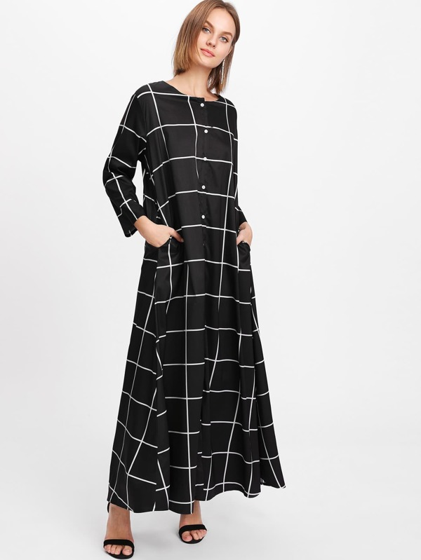 2b851b9251 Checked Long Shirt Dress | SHEIN