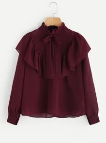 Self Tie Neck Frill Trim Blouse