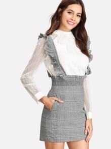 Shirred Waist Plaid Skirt With Flounce Strap