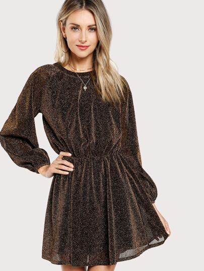 Slit Button Back Glitter Blouson Dress