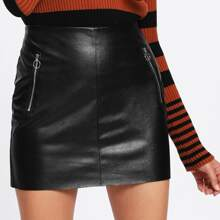 - O-Ring Zip Detail Faux Leather Skirt