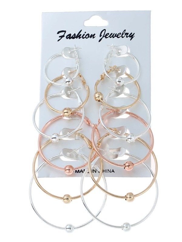 2e6a4928ef Mixed Sized Hoop Earring Set 6 Pair | SHEIN