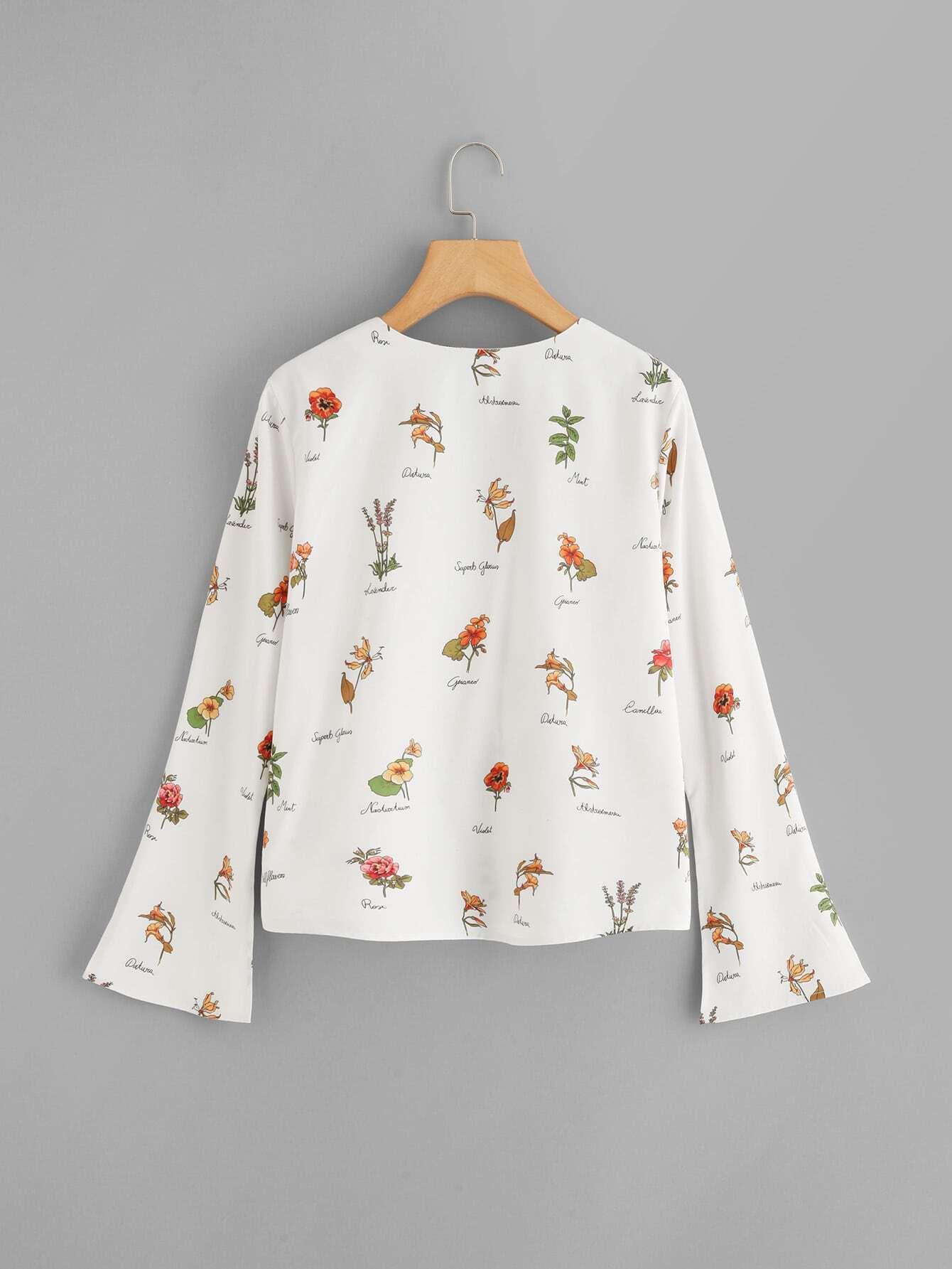 Bell sleeve flower print button up shirt shein sheinside for Floral print button up shirt