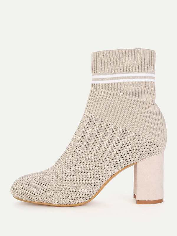 307e4443e Striped Detail Block Heeled Ankle Boots | SHEIN