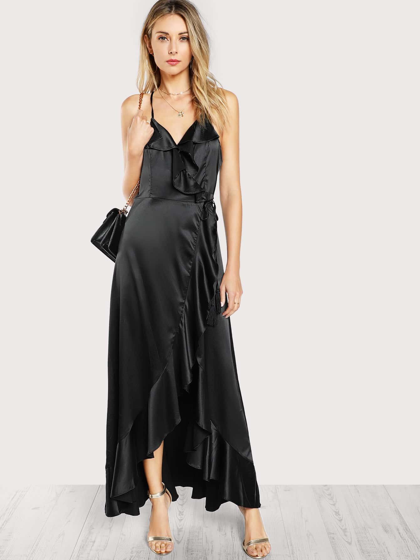 Satin Ruffle Front Maxi Dress Black Shein Sheinside