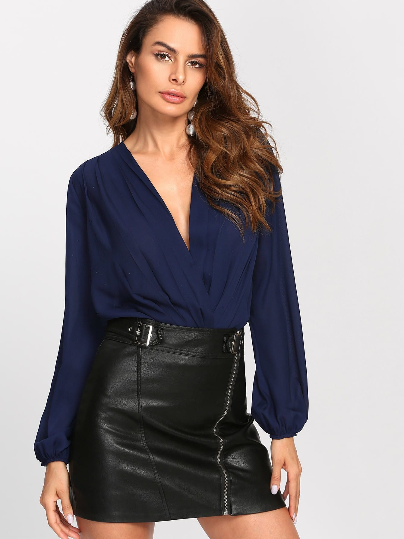 shein balloon-sleeve-pleated-surplice-blouse-bodysuit by sheinside
