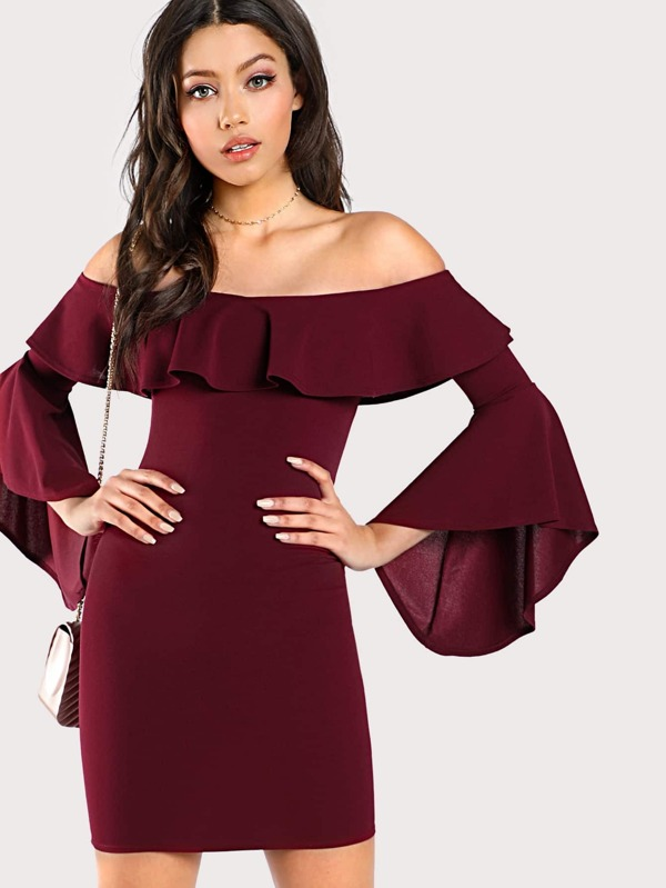 e3b7c85b2b470 Off Shoulder Flounce Trumpet Sleeve Dress BURGUNDY