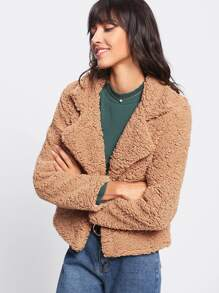 Lapel Sherpa Teddy Jacket