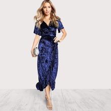 Frill Trim Surplice Wrap Crushed Velvet Dress dress170904706