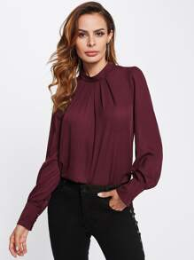 Button Keyhole Back Pleated Neck Blouse