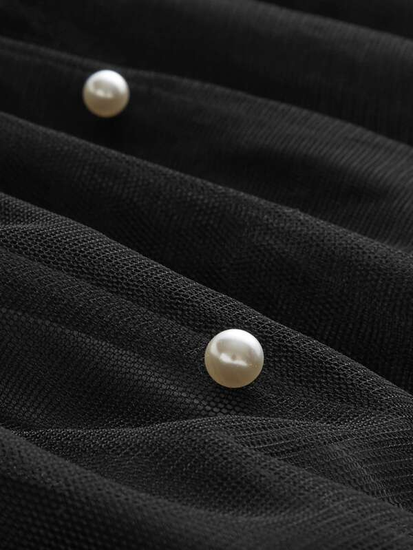 pearl beading mesh overlay circle skirt shein sheinside