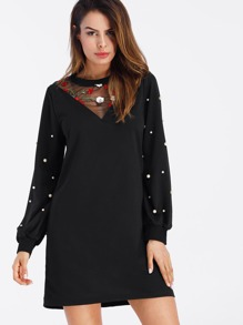 Embroidery Mesh Panel Pearl Beaded Sweatshirt Dress