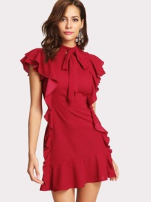 Flounce Embellished Tied Neck Dress