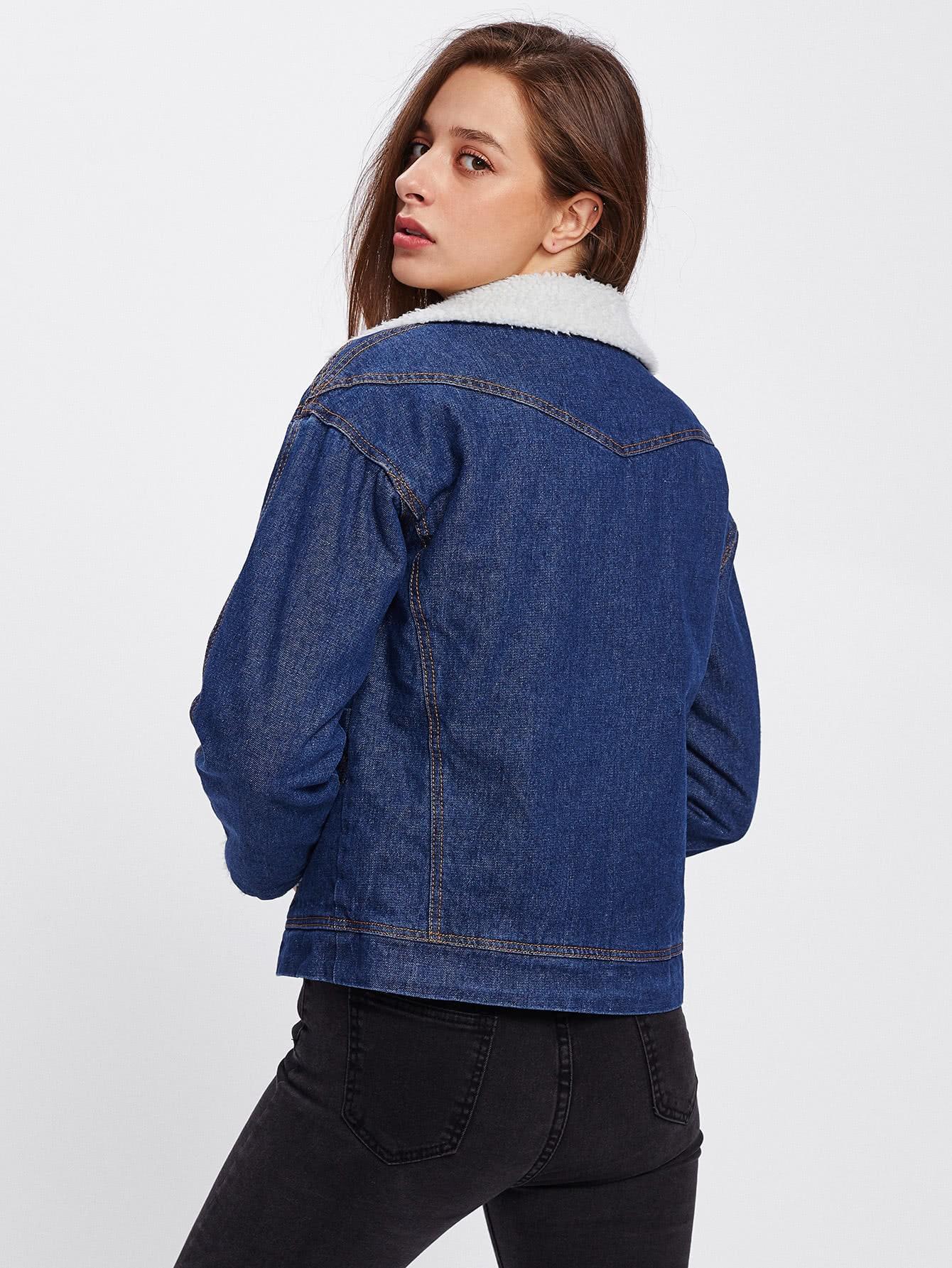 veste en jeans avec fourrure fausse french shein sheinside. Black Bedroom Furniture Sets. Home Design Ideas