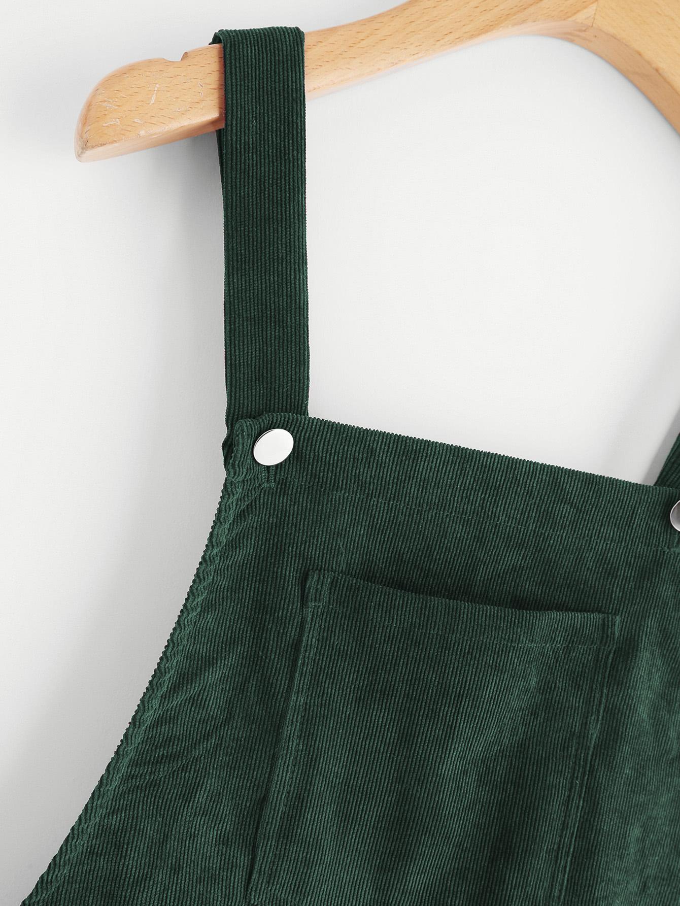 7b76429778 Pocket Front Overall Corduroy Dress EmmaCloth-Women Fast Fashion Online