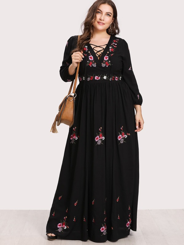 2c8ae6921f Plus Lace Up Front Floral Embroidered Maxi Dress | SHEIN