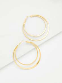 Layered Open Hoop Earrings