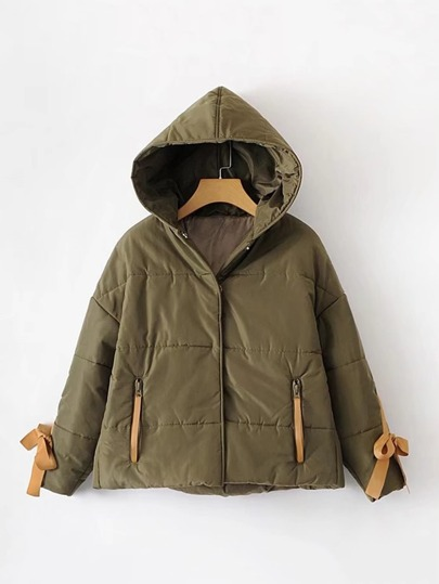 Contrast Bow Tie Hooded Padded Coat