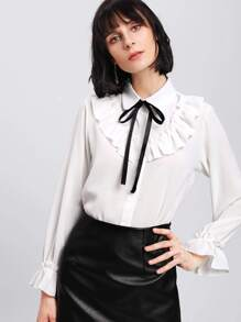 Frill Detail Bow Tie Neck Blouse