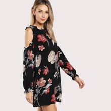 Open Shoulder Frill Detail Floral Dress blouse17101813