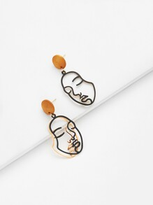 Two Tone Face Design Drop Earrings 1pair