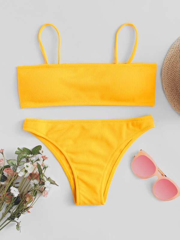 d1a28e93b5 Cami Top With Ribbed Bikini Set