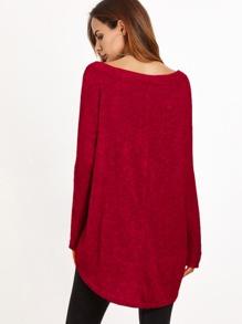 af37a76c9ad5 Asymmetrical Shoulder Dip Hem T-shirt   SHEIN