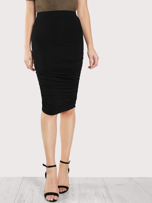 084563b699b7 Cheap Solid Ruched Knit Skirt for sale Australia | SHEIN