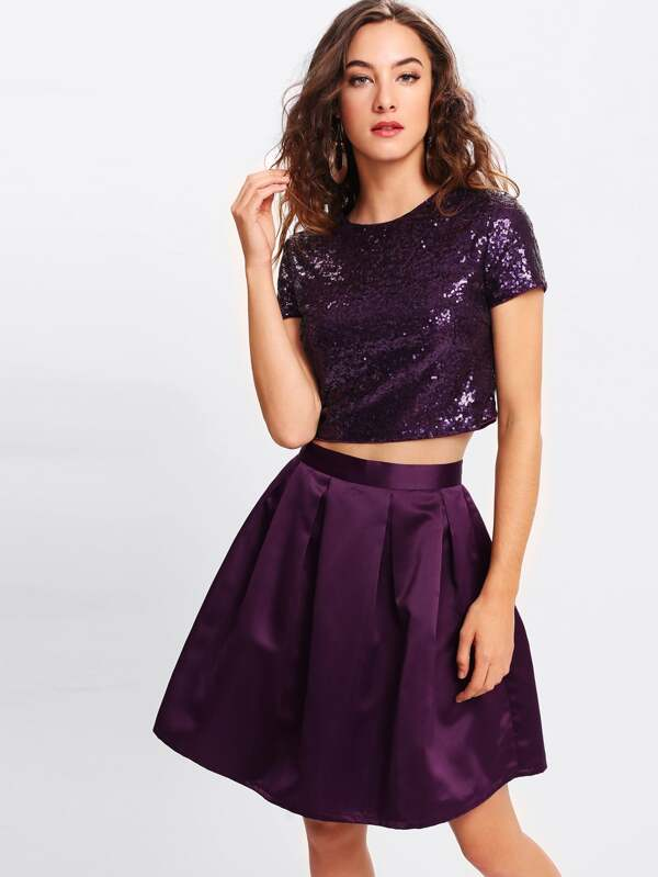 6f4574d813675 Cheap Sequin Crop Top   Boxed Pleated Skirt Set for sale Australia ...