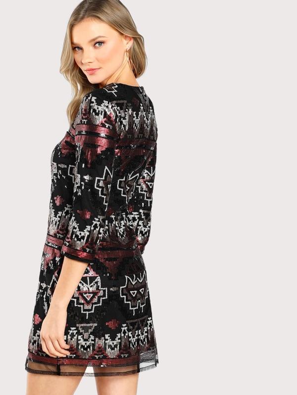 5fa95c05b4 Tribal Print Sequin Dress | SHEIN