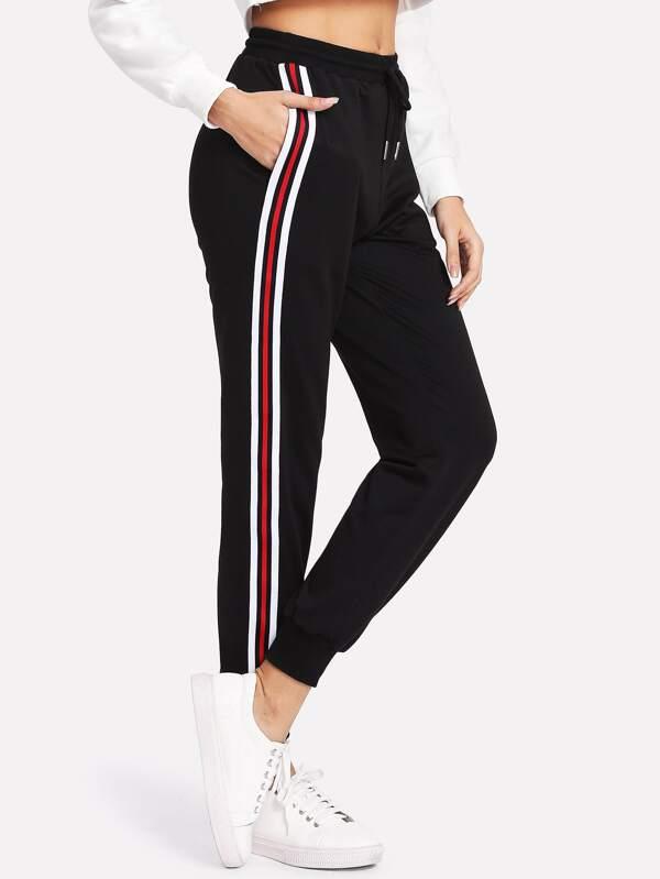 b78adb6780 Striped Tape Side Drawstring Sweatpants | SHEIN