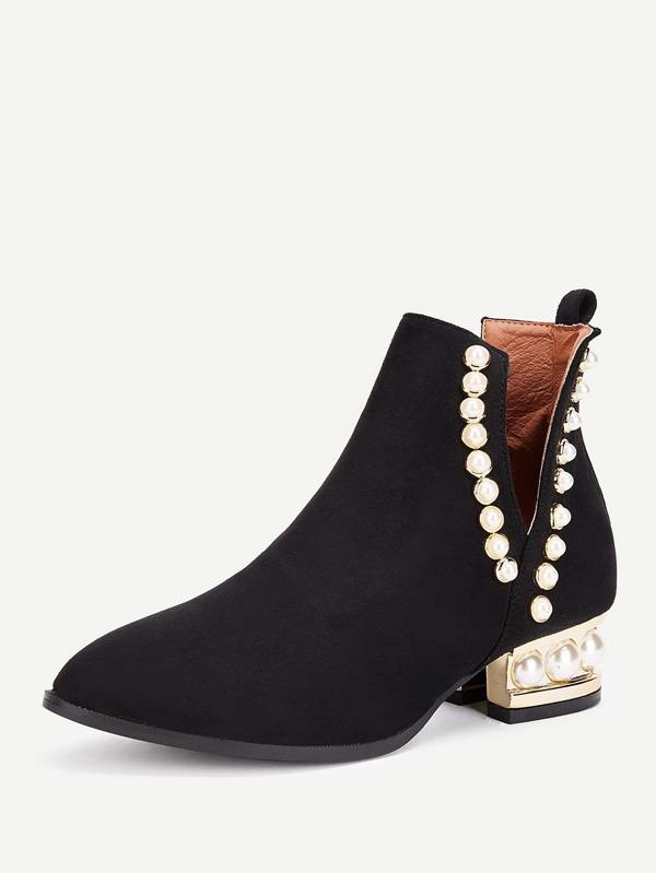 Botas tobillo de tacón block con perlas artificiales  caf2c03df7d96