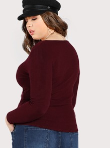 7d6a8ce1ad3a2a Plus Cross Front Ribbed Long Sleeve Top BURGUNDY