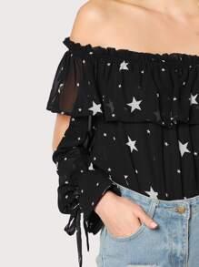 0fa9a19783123 Cheap Star Print Flounce Off Shoulder Sheer Top BLACK for sale Australia