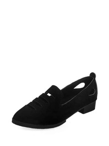 Cut Out Design Suede Flats