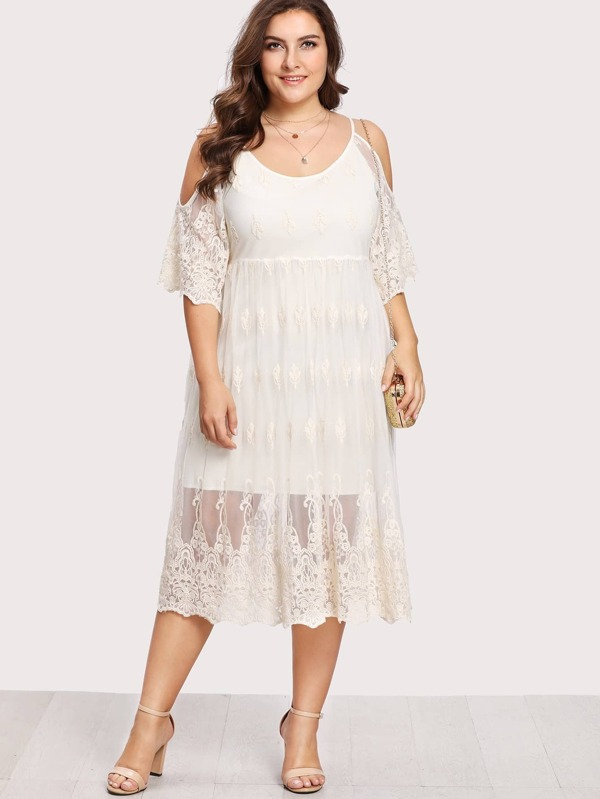 545ab3d55e Plus Embroidery Lace Overlay Open Shoulder Dress | SHEIN UK
