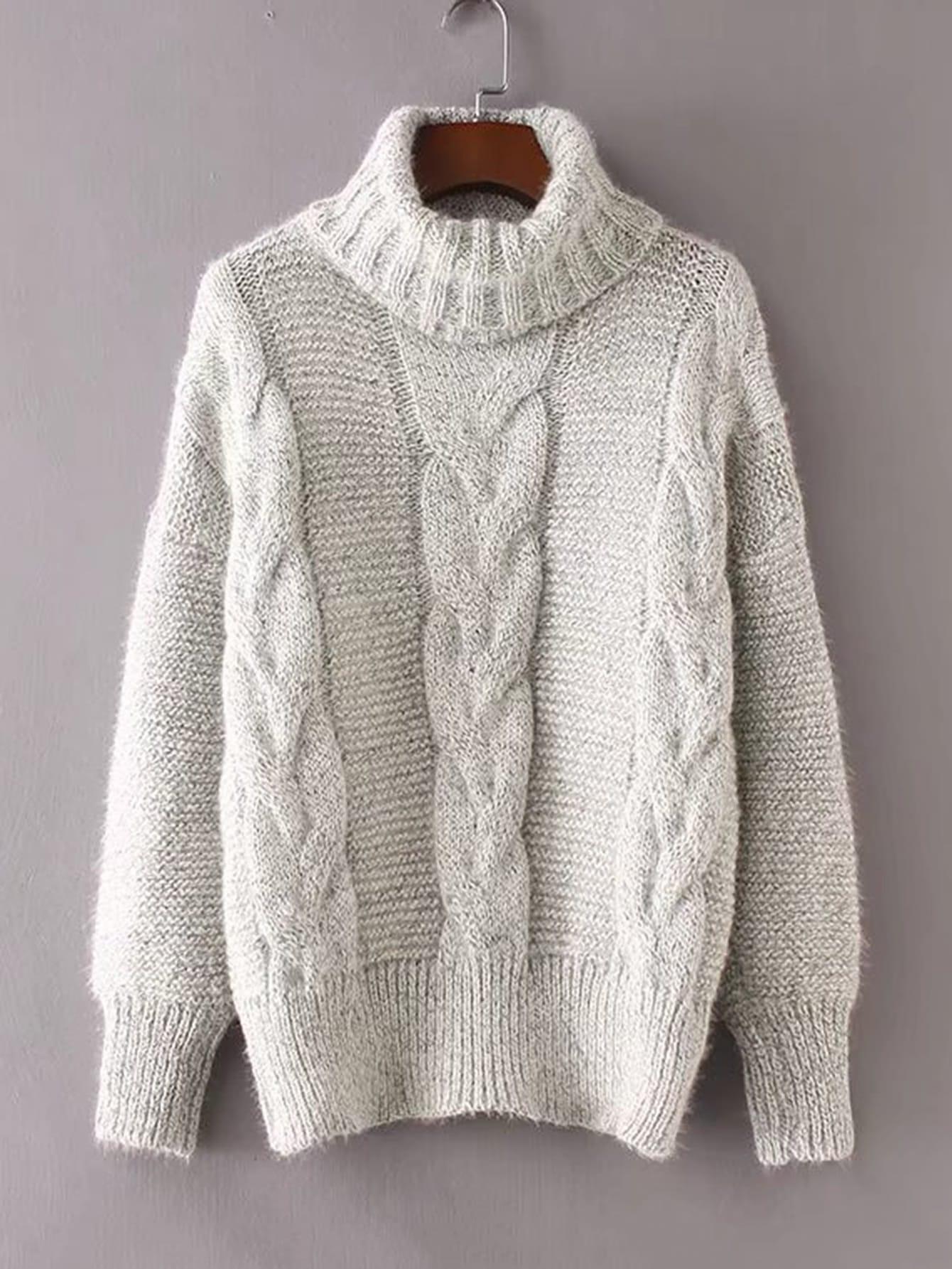 Suéter de cuello alto tejido de cable -Spanish ROMWE