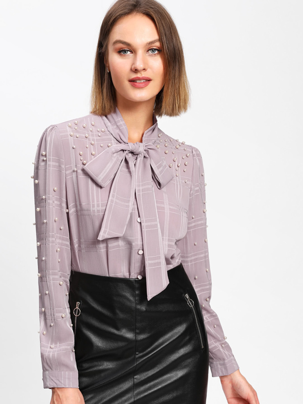 87ff64abfe58 Faux Pearl Tie Neck Blouse