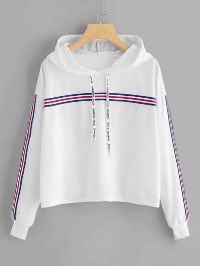 Striped Tape Detail Hoodie