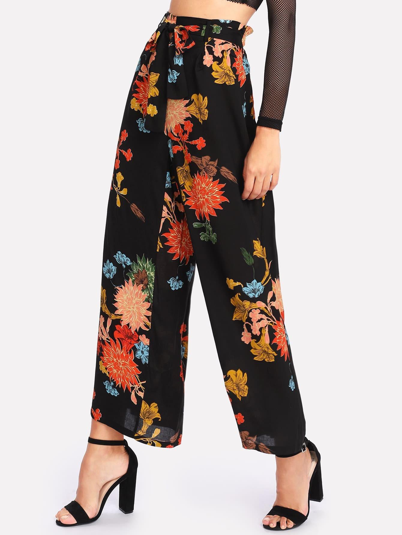 Frilled Waist Floral Wide Leg Pants