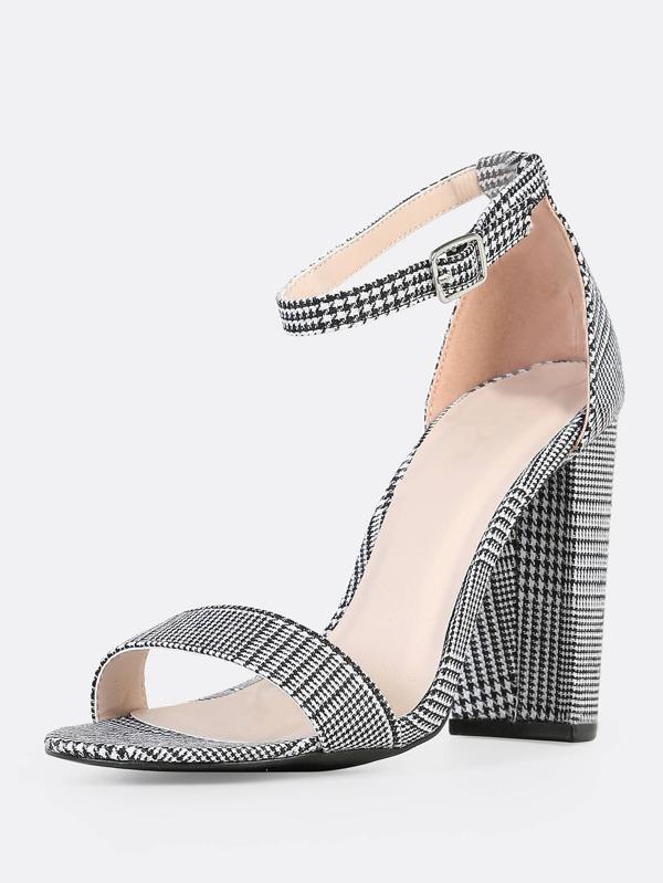 8d0b84d402 Plaid Print Ankle Strap Heels BLACK WHITE | SHEIN