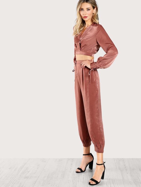 d60591c727 Satin Tie Long Sleeve Crop Top & Matching Pants Set MAUVE | SHEIN