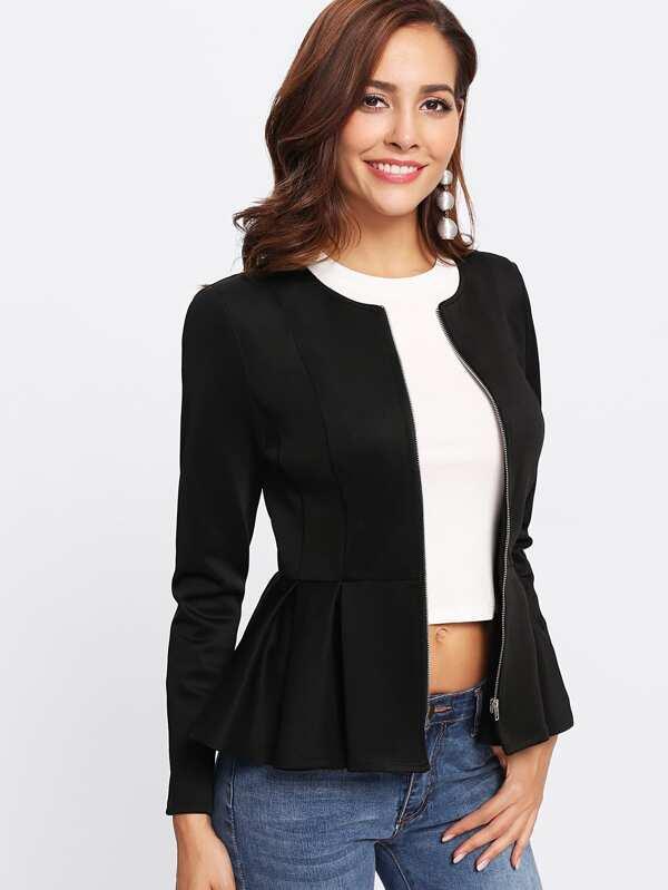 2bb1738f6d Zip Up Box Pleated Peplum Jacket | SHEIN