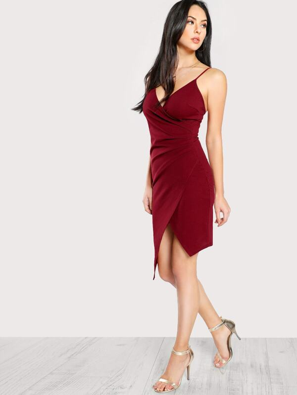 2e73b6ab854d Ruched Asymmetrical Hem Surplice Cami Dress | SHEIN