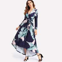 Palm Leaf Print Wrap Dress dress171123470