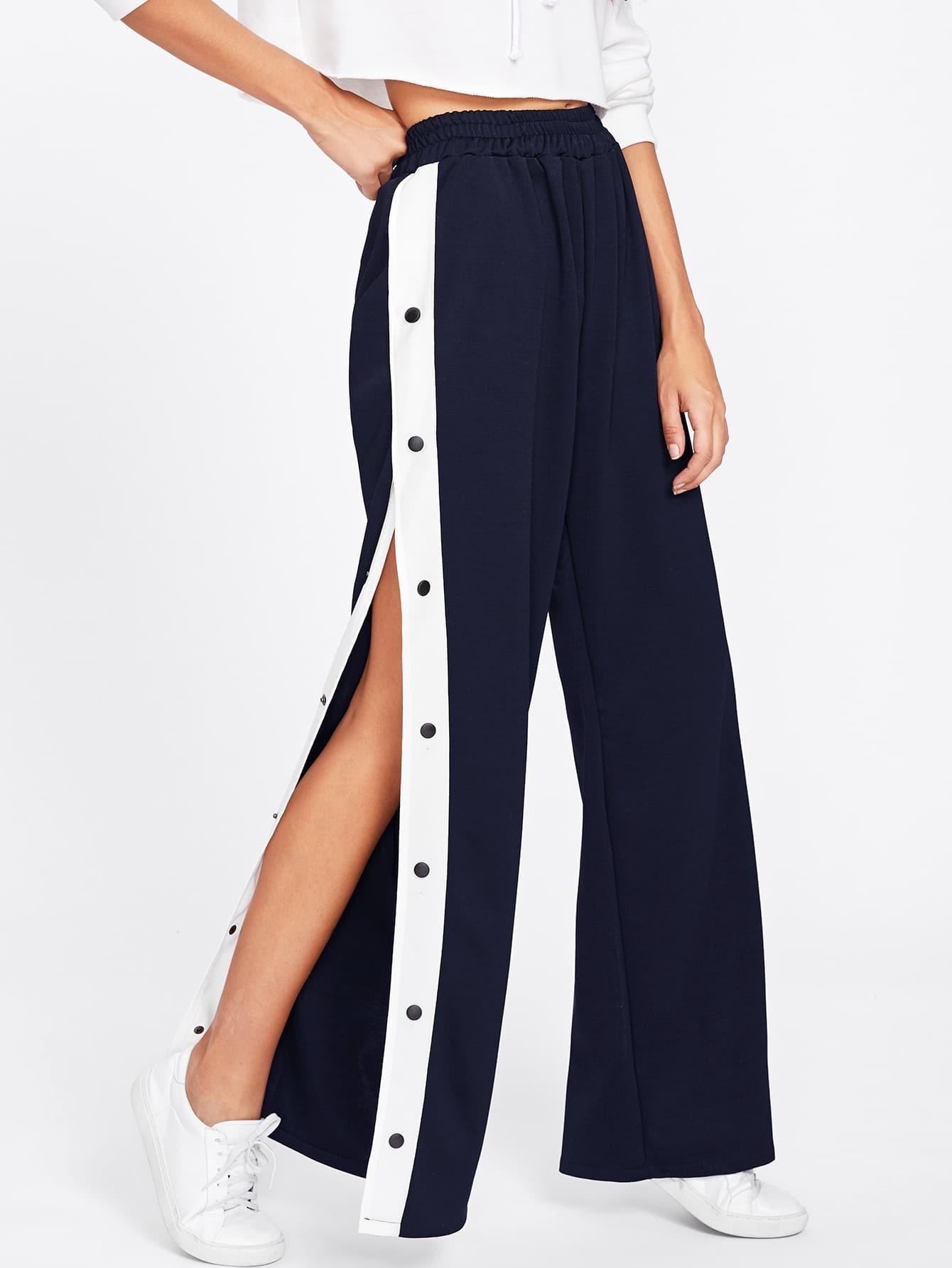 Tape Button Side Wide Leg Pants EmmaCloth-Women Fast ...