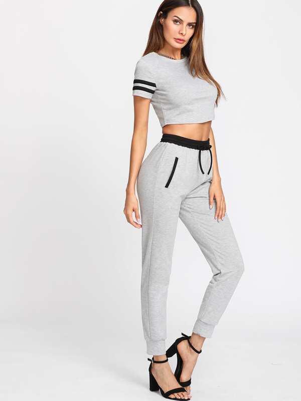 f9711c4787bb51 Striped Sleeve Crop Top   Sweatpants Set