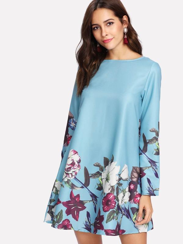6c8086b5e ملابس الحرير لون ازرق طباعة الزهور | شي إن